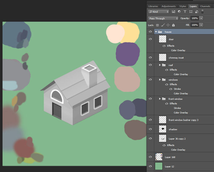 Screenshot Various groups/layers for organizing objects & Creating 3D Low Poly Art With 2D Shapes in Photoshop (Workflow Tutorial)