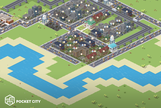 pocket city river water sand terrain